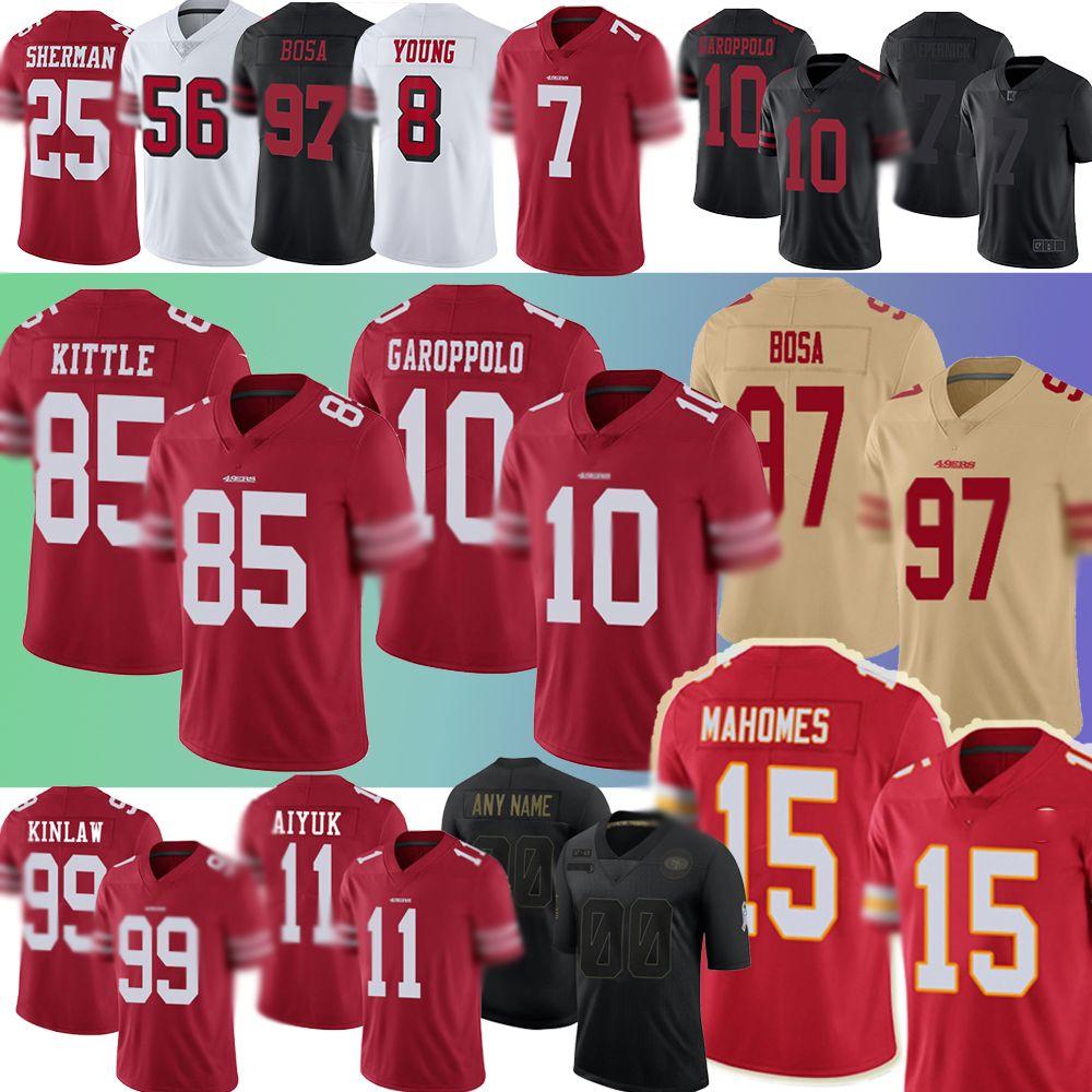 Patrick 15 Mahomes San Colin Kaepernick Francisco.49ers.유니폼 Jimmy Garoppolo George Kittle Nick Bosa Brandon Aiyuk Javon Kinlaw