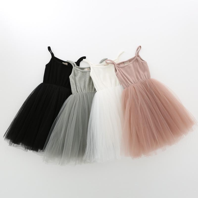 Baby girls Lace Tulle Sling dress Children suspender Mesh Tutu princess dresses summer Boutique Kids Clothing 4 colors WQ400