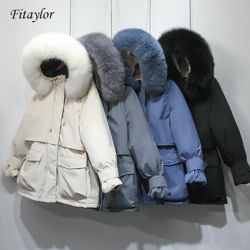 Fitaylor Kış Ceket Kadınlar Büyük Doğal Fox Kürk Beyaz Ördek Aşağı Ceket Kalın Parkas Sıcak Kanat Kravat Fermuar Aşağı Kar Kabanlar 201023