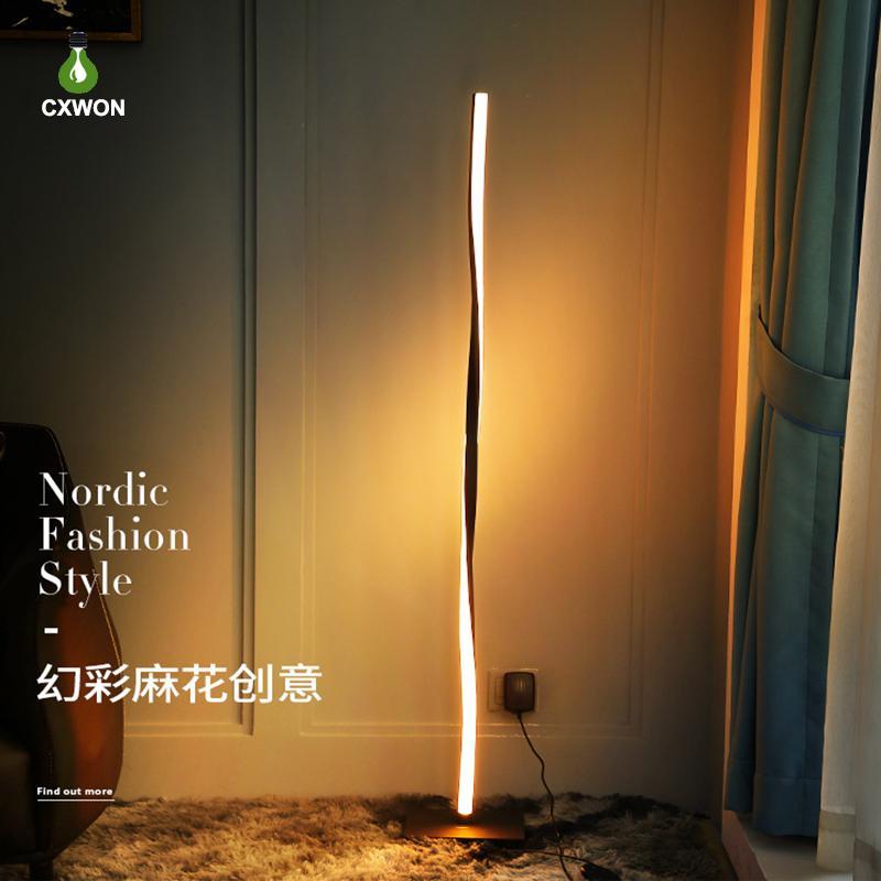 Lâmpada de assoalho moderno RGB White branco levou luzes de chão iluminação Bluetooth escurando Escritório Nórdico Lâmpada de pé da lâmpada de decoração interna