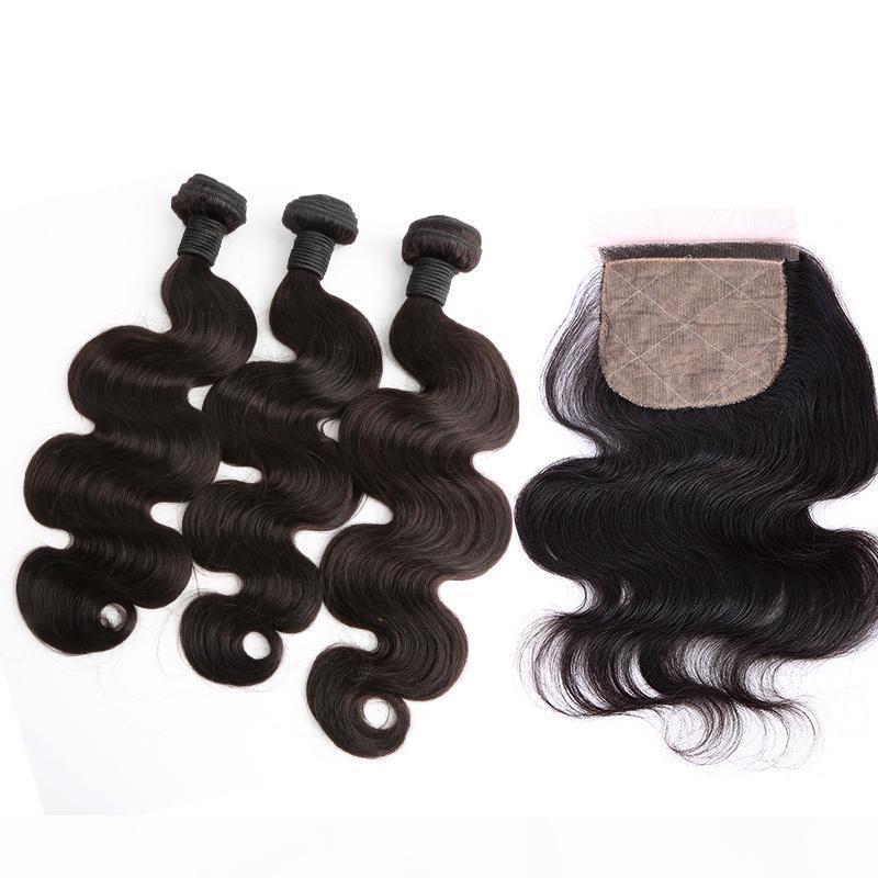 Brasiliana Body Wave Capelli Bundle con seta base di chiusura non trasformati umani del Virgin tesse capelli estensioni di trama con chiusura 4pcs Lot Bellahair