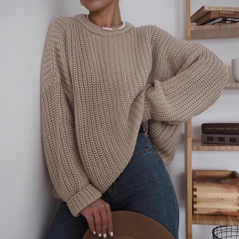 Элегантный осень негабаритный свитер женщин сплошные рыхлые вязаные свитера женские с длинным рукавом пуловер женский джемпер кашемирок New1