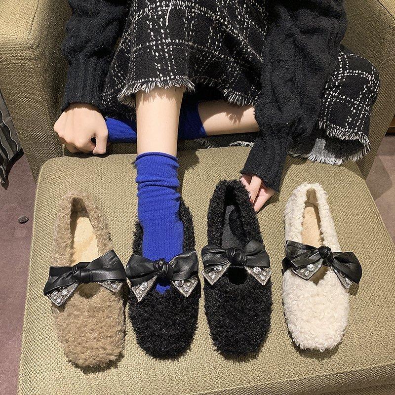 Mocassins fourrure basse talons chaussures femme appartements modis casual chaussures de baskets automne élégant clef-nœud cristal robe 2020 nouvel hiver