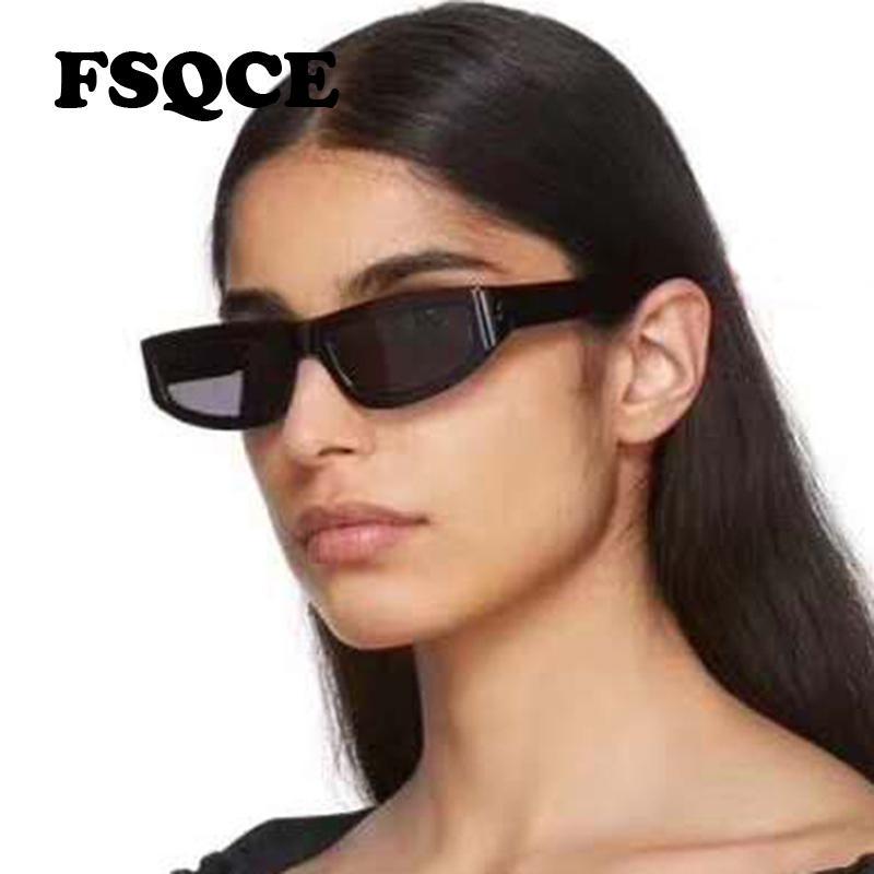 FSQCE Moda Cateye Gafas de sol Mujeres Nuevo Vintage Gato Ojo Gafas de sol Retro Negro Lesoprard Shades UV400 Gafas Q0121