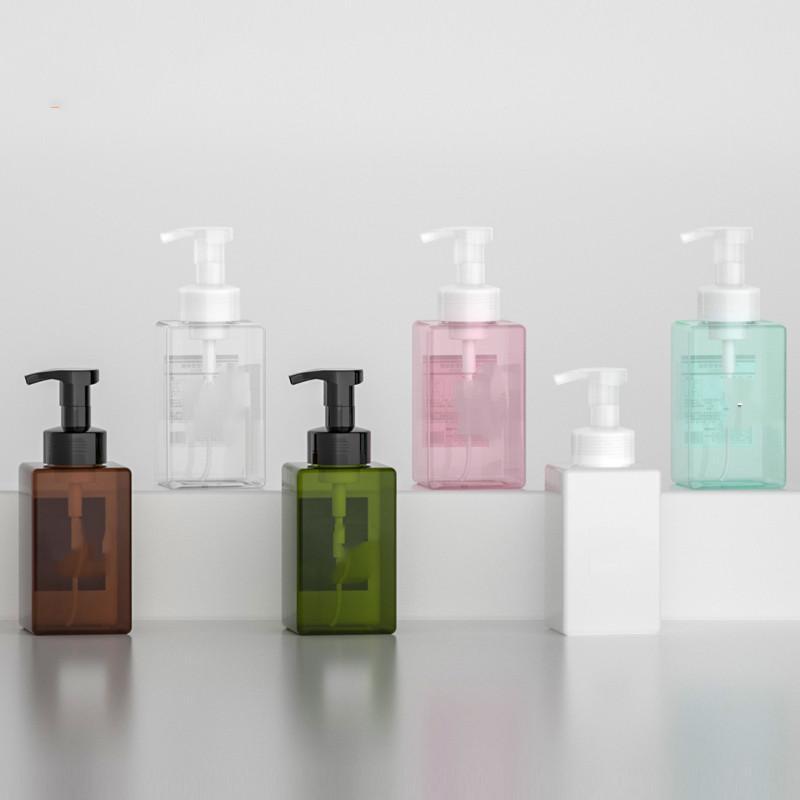 10 pz 450ml Cancella / Bianco Quadrati Bottiglia di schiuma Bottiglia per lavare a mano Bagno Mousse Mousse FAI DA TE Pompa a bolle vuota