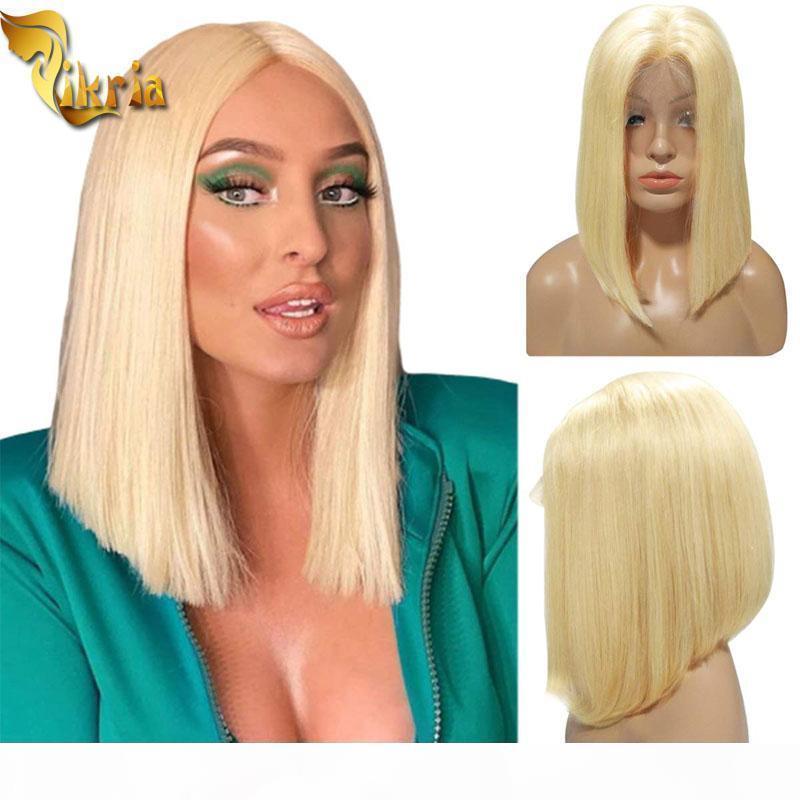Sarışın 613 Bob Tam Dantel İnsan Saç Peruk Tam Dantel İnsan Saç Peruk Ile Bebek Saç 8 ~ 14 inç PrePlucked Doğal Saç Çizgisi Siyah Kadınlar Için