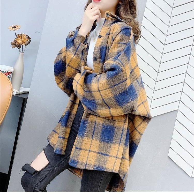 primavera otoño mujeres abrigos a cuadros cepillados vintage mujeres camisas moda camisas gruesas mujer ropa femenina tops sueltos estilo europeo