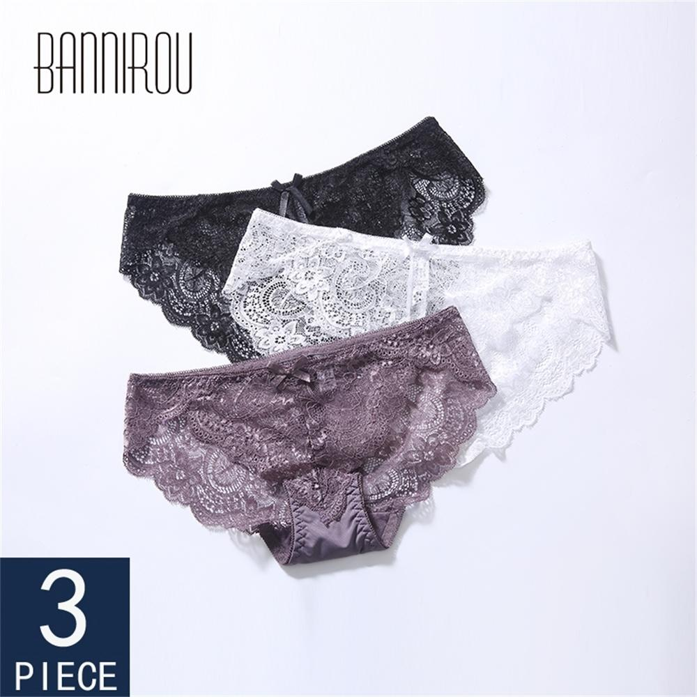 3 Pcs Woman Lace Sexy Briefs Underwear For Woman Solid Low Rise Female Panties New Lace Sexy Woman Underwear M-XXL BANNIROU LJ200822