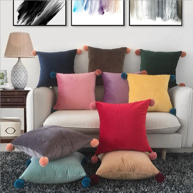 Caja de almohada de Pompom Soft y Cómodas Casas de almohadas Color Sólido Cojín Cojín Minimalismo Moderno Cubiertas Cubiertas de almohada DHB3527
