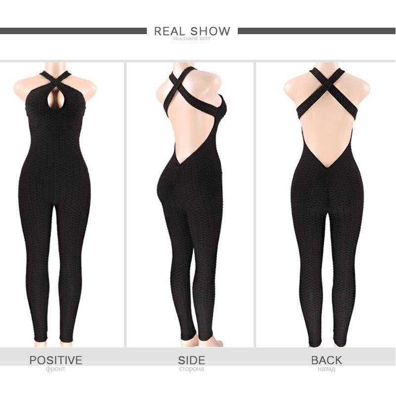 Fitness Women Sport Traje Jumpsuit 2019 sexy sin mangas chándals traje de yoga conjunto invertido gimnasio corriendo ropa deportiva Leggings worko jllnwx