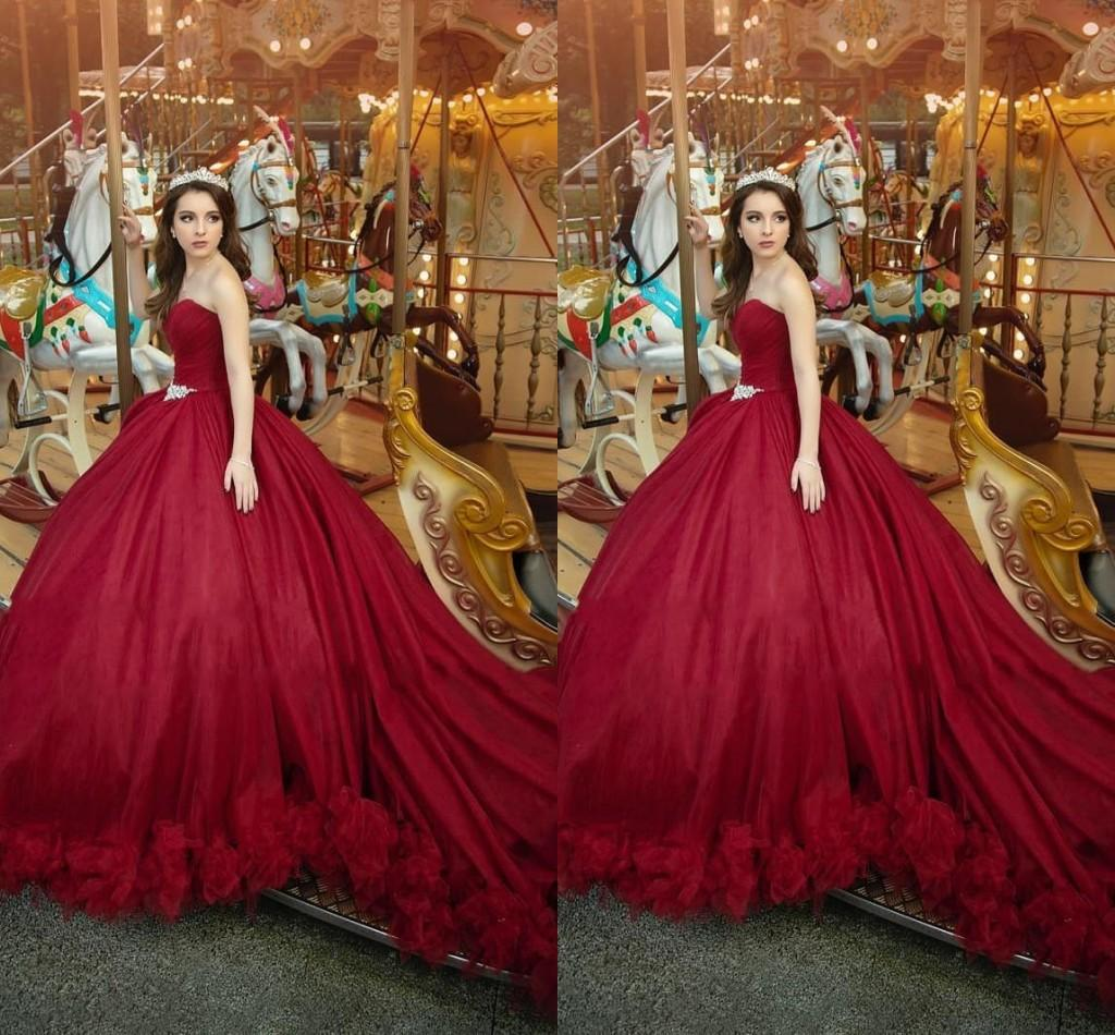 Perfect Dark Red Princess Prom Ball Gowns Women Strapless Crystal Belt Hand Made Flowers Tulle Quinceanera Dress Sweet 16 Girls Pageant