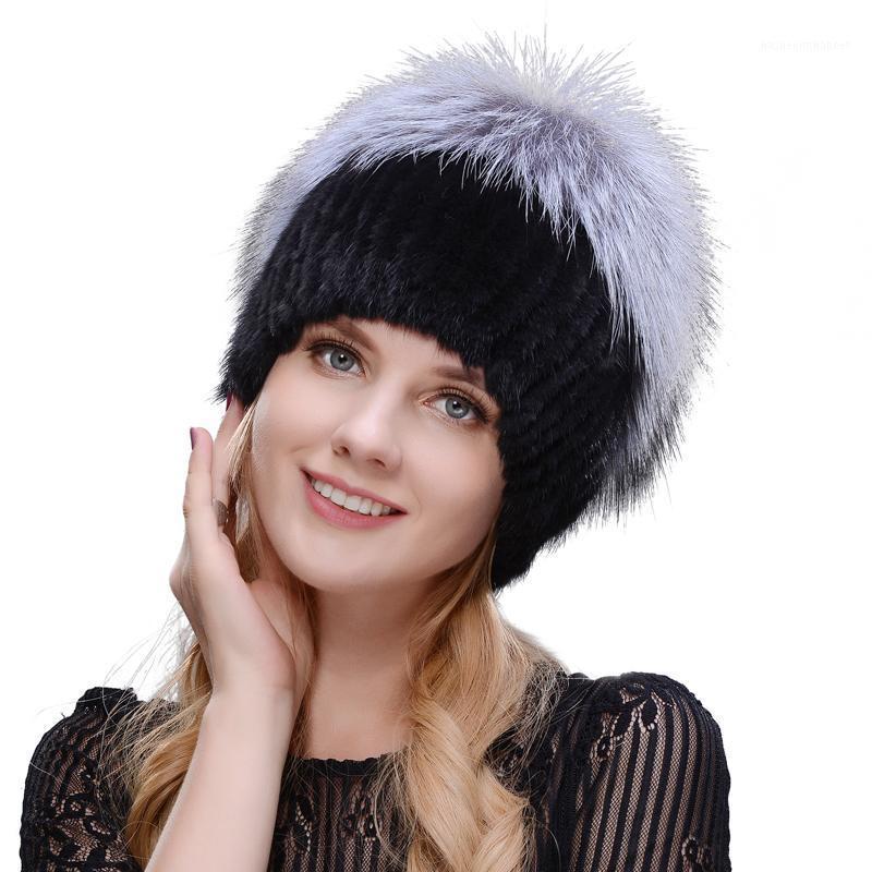 Шапочки / черепные колпачки Jeryafur Российский зимний меховой шляпу Дамский стиль норки вязаная шерсть и лыж1