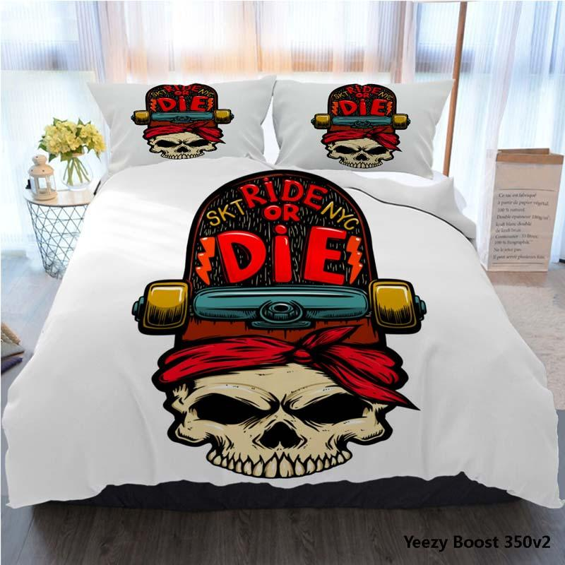 3pcs Bedding Cotton Set Super King Duvet Cover Set Ride Or Die Skull With Skateboard Design Element For Bed Cover With Pillowcase