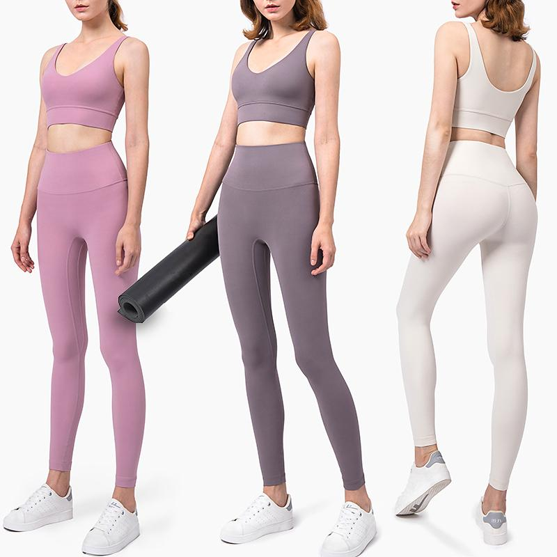 Nude yoga clothing professional high end women's autumn and winter fashion back sports suit gym thin tight quick dry clothes