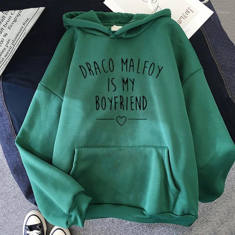 Малфой мой парень Письмо печатает капюшон женские зеленые повседневные судадеры толстовки новые моды хараджуку толстовки с капюшоном1