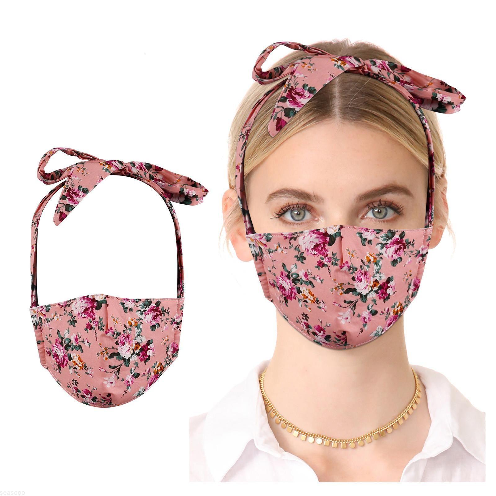 Máscara de dibujos animados Moda para adultos Mascarillas de algodón de algodón de algodón Dot con diadema reutilizable Lavable Boca Cubiertas Bufanda de tela Masque Jllwkw xjfshop