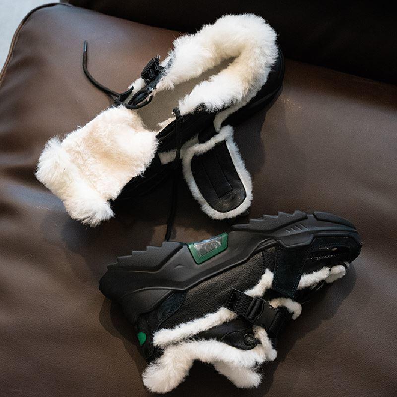 Hot Verkauf RIZABINA Größe 35-42 Echtes Leder Frauen Turnschuhe Mode-Winter-warme Pelz-Knöchel-Stiefel-Plattform-Kreuz-Bügel-Schuhe Frau Schuhe
