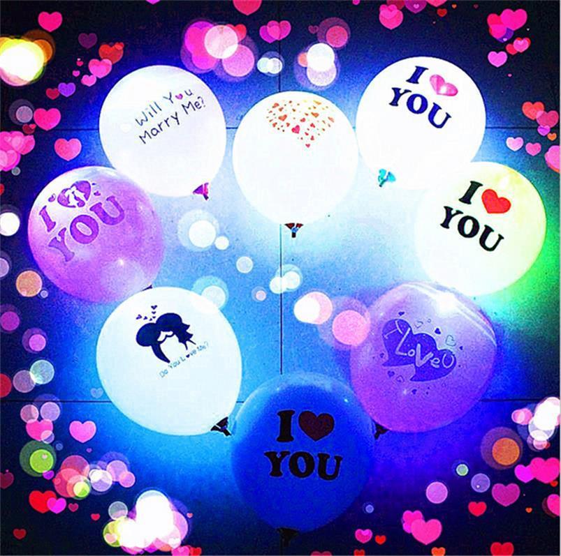 Día de San Valentín Los amantes de los globos luminosos LED Transparent LED BOBO Ball Ball Balls para Navidad Año Nuevo Brithday Fiesta de boda Decoración E121803