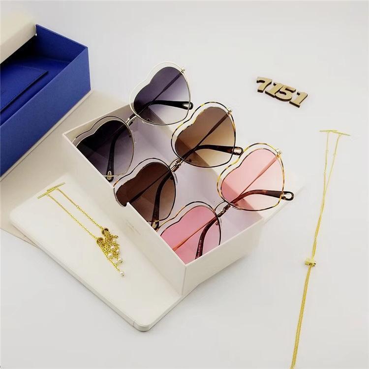 Новые металлические полые линии персиков мужские и женские очки любят солнцезащитные очки в форме сердца