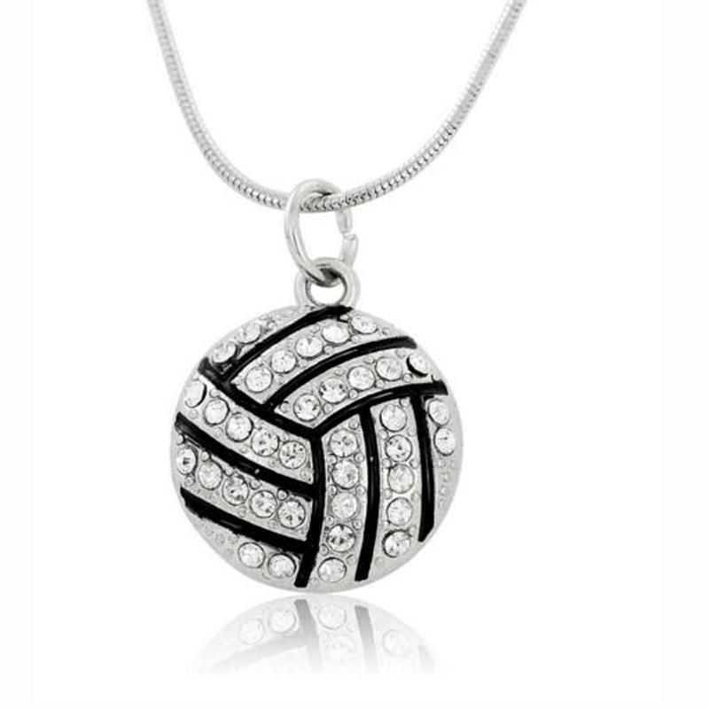 I Love Volleyball Heart Shape Pendant Necklace Link Chain Sports Jewelry for Teen Girls