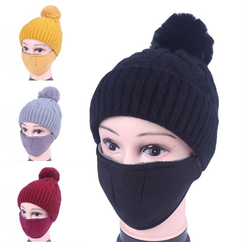 DHL Shipping Winter Knit Beanies Hat with Filter Thick Warm Mask Caps Women Windproof Outdoor Ski Cap Protective Face Masks Kimter-X859FZ