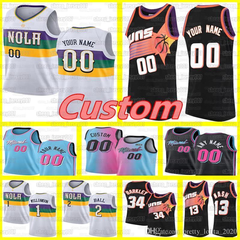 Custom Steve 13 Nash BasketballsonnenTrikots New Orleans.PelikaneZion 1 Williamson Lonzo 2 Ball-Trikots Dwyane Hitze3 Wade.