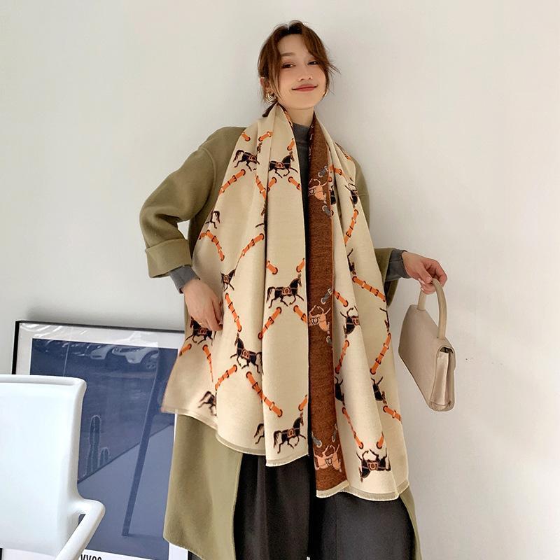 Écharpe hiver chaleureuse pour femme châle en cachemire châles dame wraps marque imprimée épaisse couverture cagesttes foulards féminin bufanda 2020 nouveau