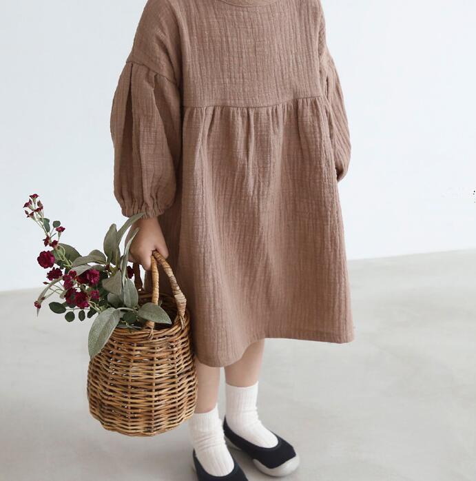 Dupla gaze moda crianças vestidos princesa outono primavera crianças roupas roupas orgânicas algodão casual adorável bebê meninas vestido 201128