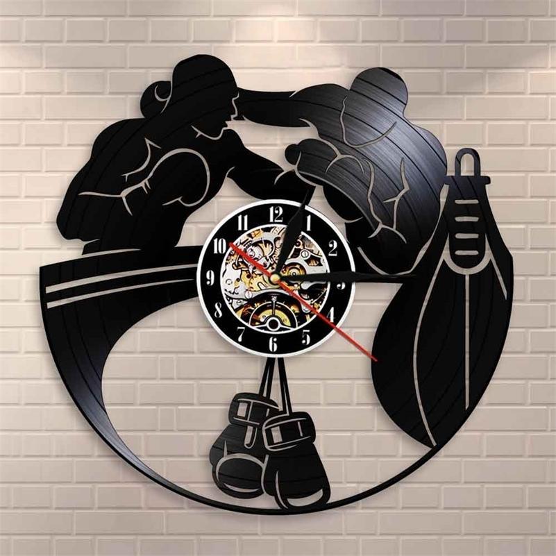 Бокс домашний декор настенные часы боксерские перчатки боксерские мешок бесконечно виниловые записи настенные часы боевые спортивные боксеры Scrappers подарок LJ201211