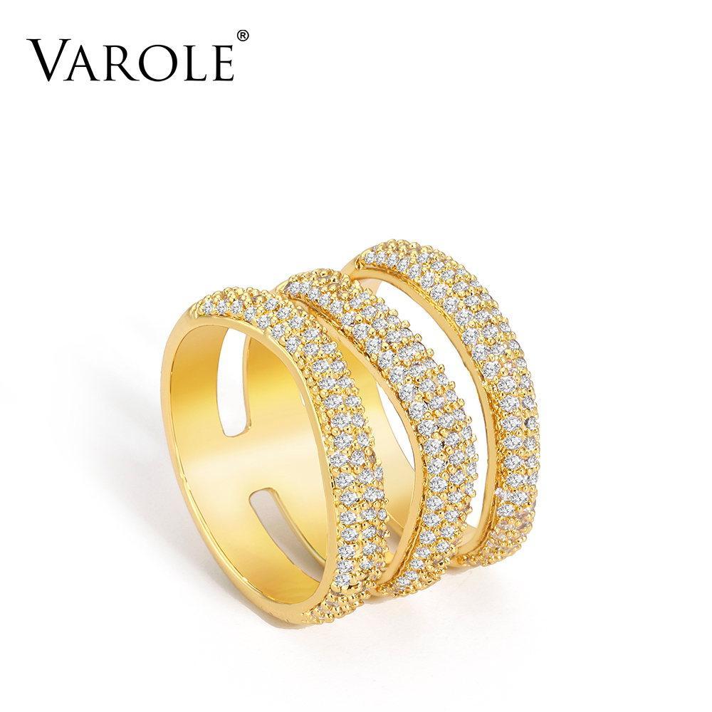 Varle لطيف كريستال الدائري ذهبي اللون 3 طبقة سيدة الاصبع خواتم للنساء الأزياء والمجوهرات الأصدقاء الهدايا anillos موهير