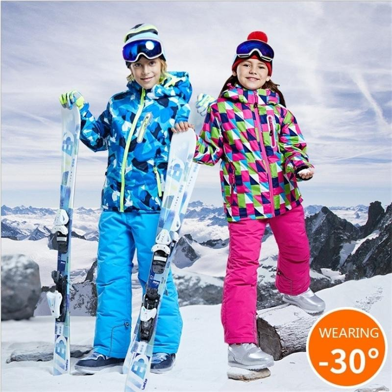 -30 Детский бренд лыжный костюм мальчик девочка детей сноуборд костюм комплект водонепроницаемый на открытом воздухе спортивная куртка брюки одежда Snowsuit Teen 12 14 201127