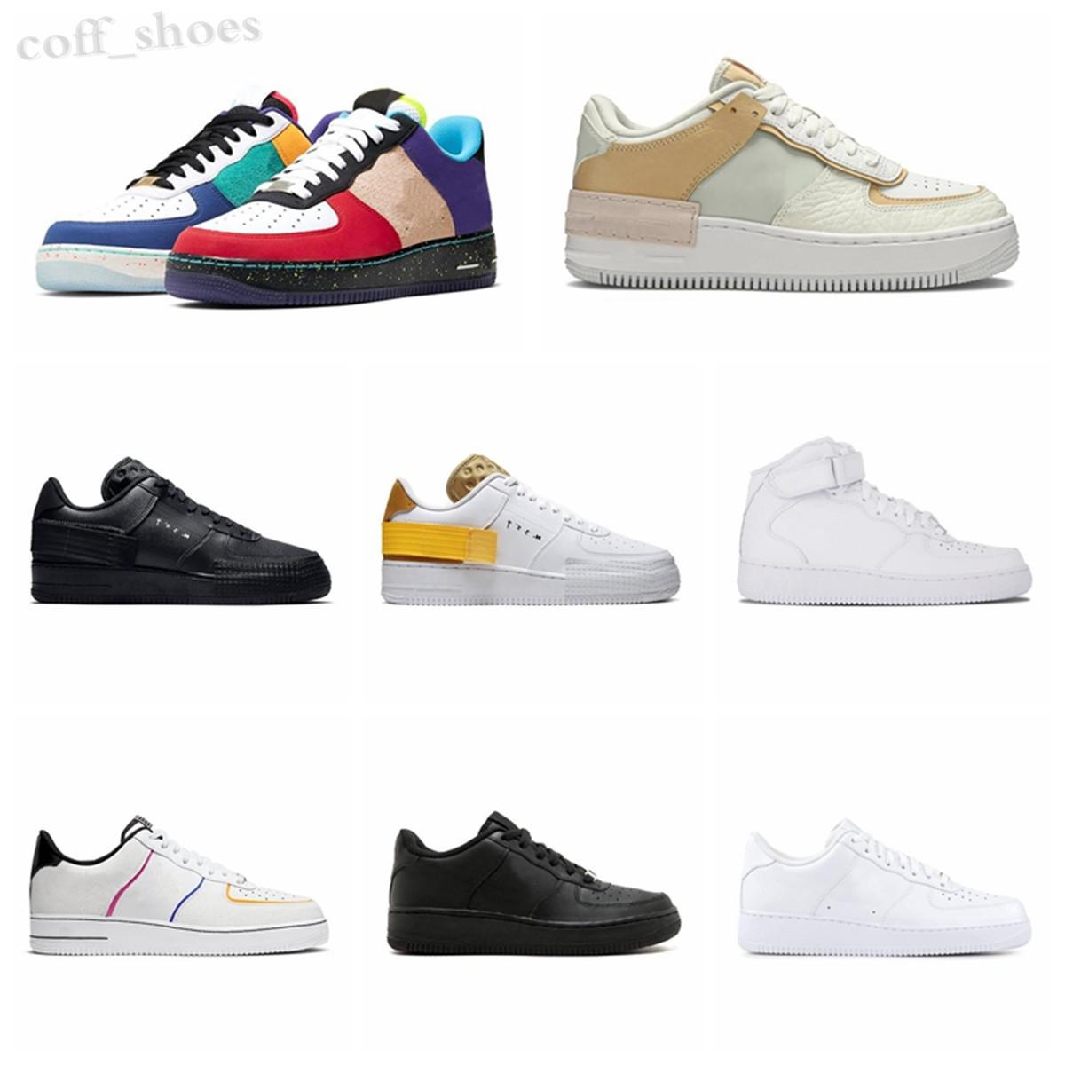 Force one 1 AF1 2020 Low Cut One 1 Child Skateboard Chaussures de sport originales Forcd 1 Shade Caoutchouc Pad Construit_in Zoom Panier Macaron Chaussure Taille KN06