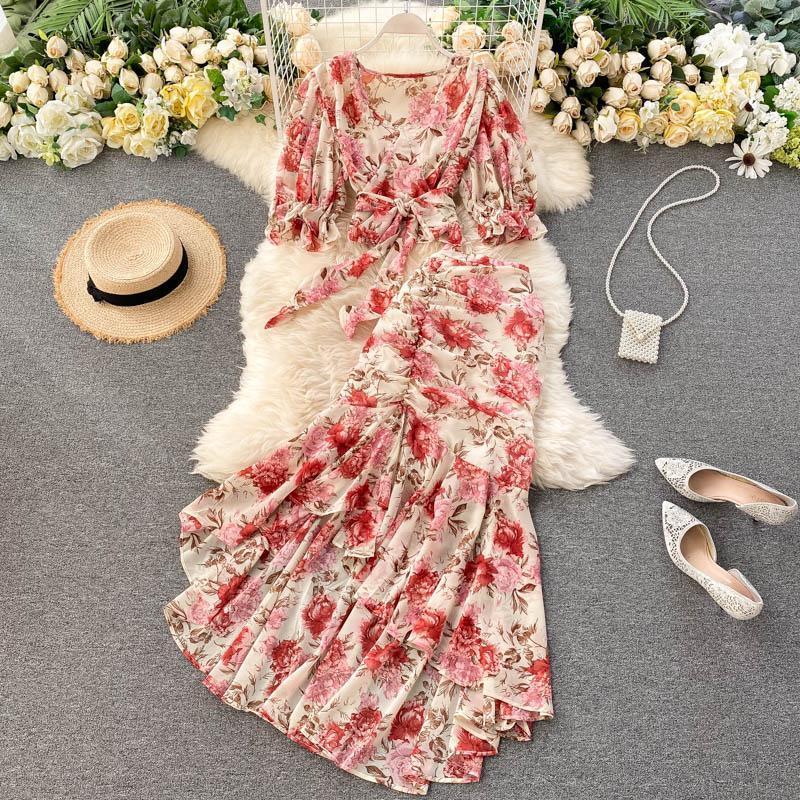 Bohemian rose / bleu print floral imprimé en mousseline 2pcs Set Femmes Boho Chic Bandage Tops courts + Taille haute Sirène Jupe Serre Femme Sets 2021