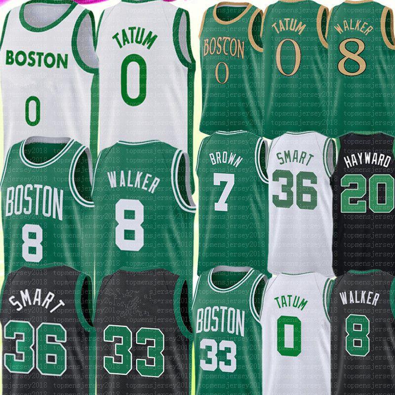 2021 Jayson 0 Tatum Jersey 33 Kemba 8 Walker Jaylen 7 Brown Marcus 36 Jersey Smart Jersey Mens Jerseys