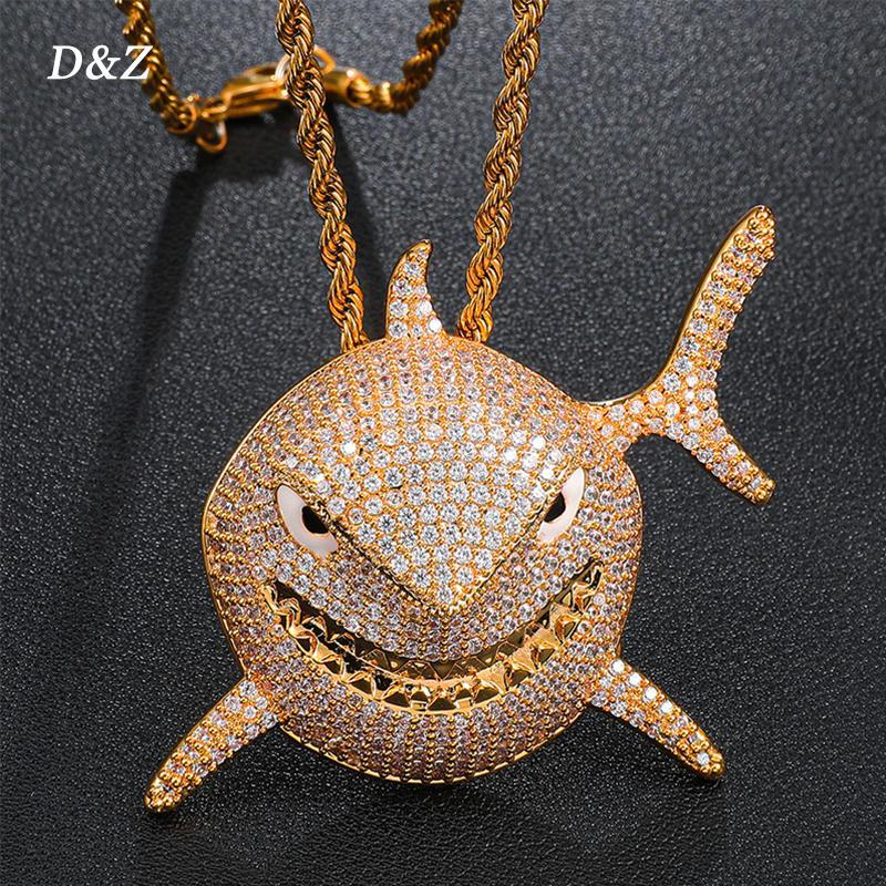 Dz hip hop 6ix9ine pingentes de tubarão em ouro soild back pingente gelado fora cúbico zircão pedras homens hip hop jóias jóias j1218