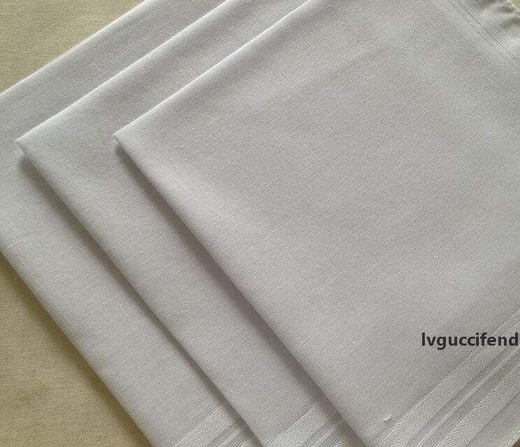 24 шт. / Лот 100% хлопок атласный носовой платок белый цвет стол платок супер мягкие карманные буксиры квадраты 34см