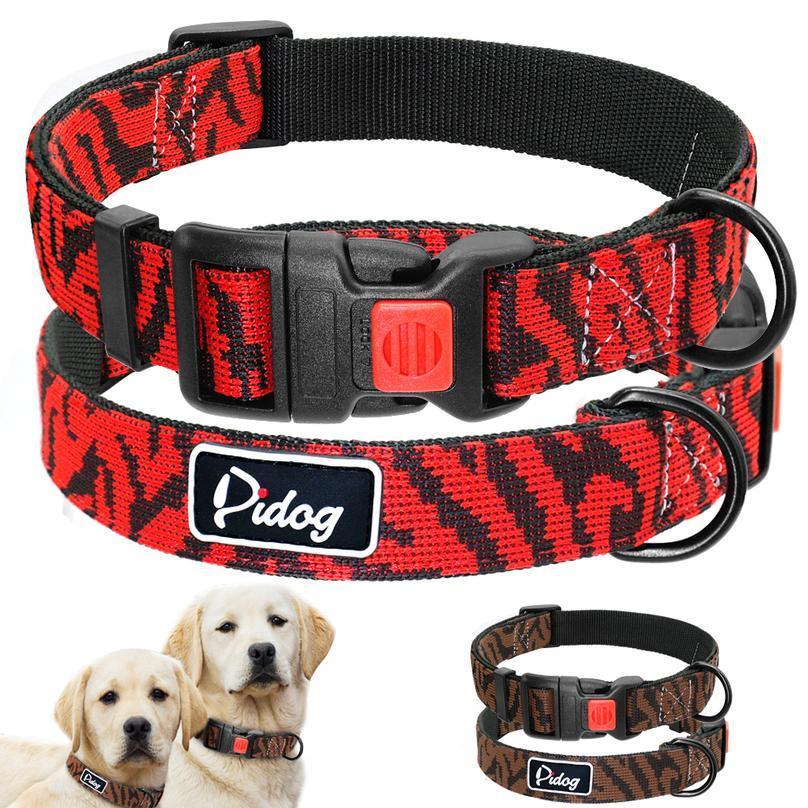 AjustBale Nylon Cuello de perro Leopardo Impreso Cuello de perro de seguridad para pequeños perros grandes Pitbull Labrador PET JLLSDU