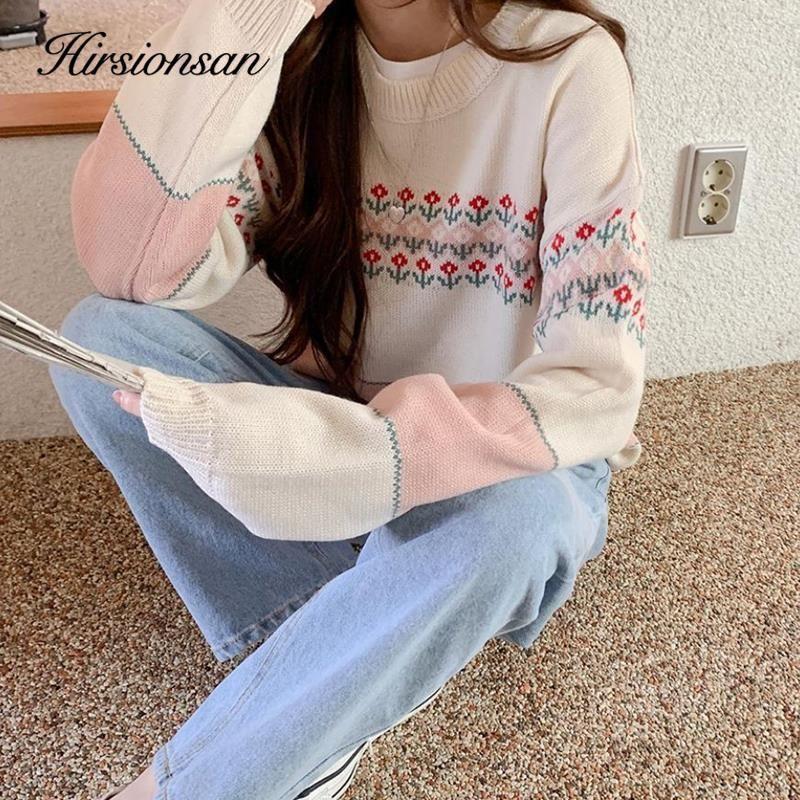 Hirsionsan Floral Graphic Sweater Mulher 2020 Novo Outono Coreano Doce Doce Pullovers O Pescoço Solto Soft Macio Elegante Mahair Sweater F1203
