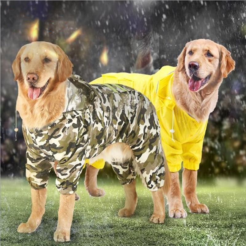 Dog Apparel 1PC Raincoat Jumpsuit Rain Coat For Large Dogs Pet Cloak Labrador Waterproof Golden Retriever Jacket XS S M L XL