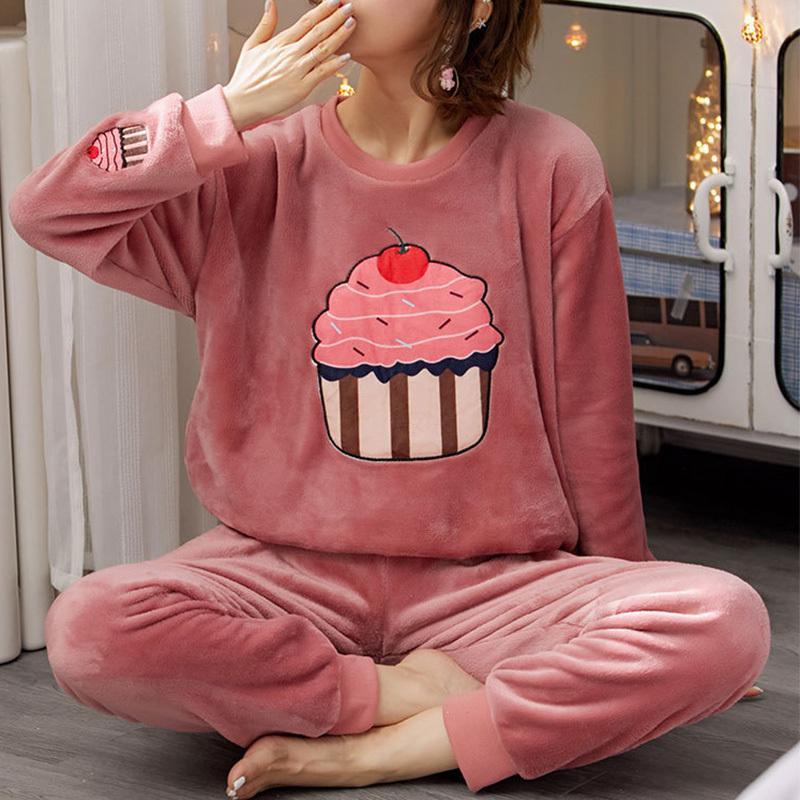 Фланель женская зимняя пижама набор домашний костюм плюшевые бархатные толстые одежда женские осень домашняя одежда женские флисовые пижамы пижамы
