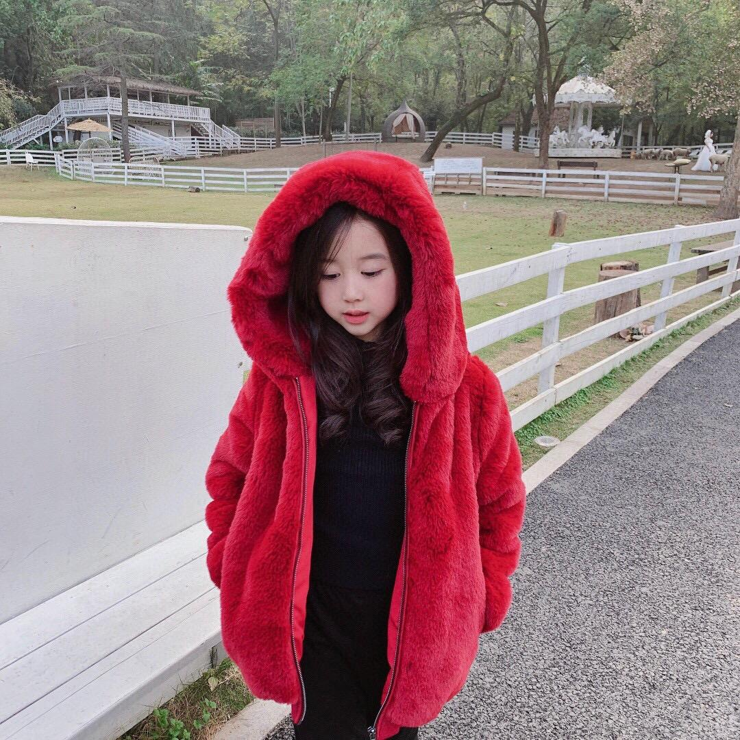 Winter Baby Girls Coat Fashion Woolen outerwear infant Sweet Girl Cartoon Rabbit Ears Hooded Coat Thick Warm Lamb Plush Clothes