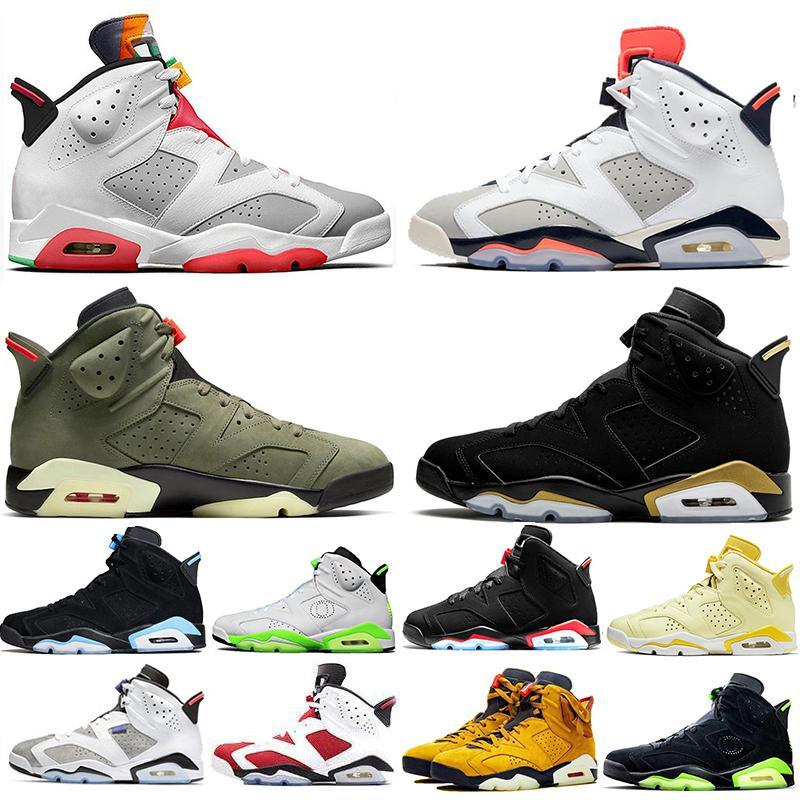 2020 New Hare Floral Dmp Travis Scotts Medium Olive 6 6s Mens Basketball Shoes Yellow Cactus Jack Reflective Bugs Bunny Trainers Snea