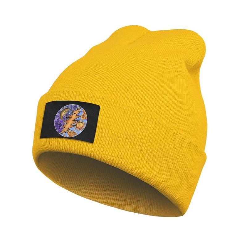 Unisex Fashion Beanie Skull Hats Grateful Dead Sun-Moon Slouchy Brim Knitted Cap