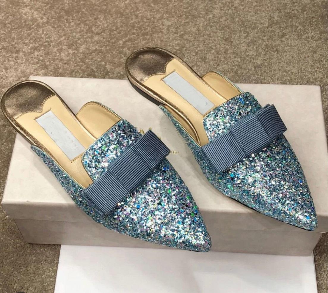 Zarif Tasarımcı Gala Glitter Deri Terlik Flats Fiyonklu, Moda Bayanlar Sivri Burun Rahat Katırlar Düz Kadın Sandalet Yaz Loafer'lar