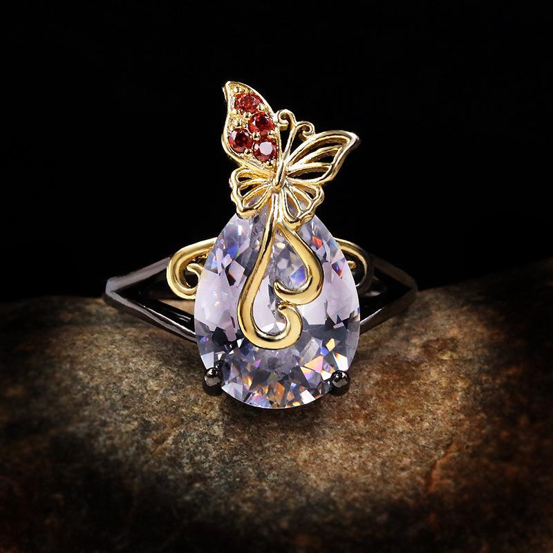 Npkds moda criativo elegante zircon dois cor bow-shaped feminino anel temperamento de alta qualidade personalizado presente de jóias finas