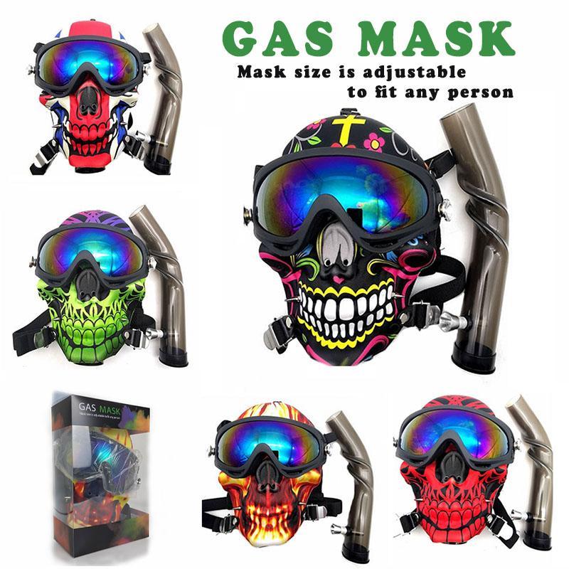 Maschera antigas Creativo Acrilico Bongs Bongs Tubi Silicone Tubo dell'acqua Tabacco Narghilè Tubo Shisha Accessorio per fumo Skull Bong