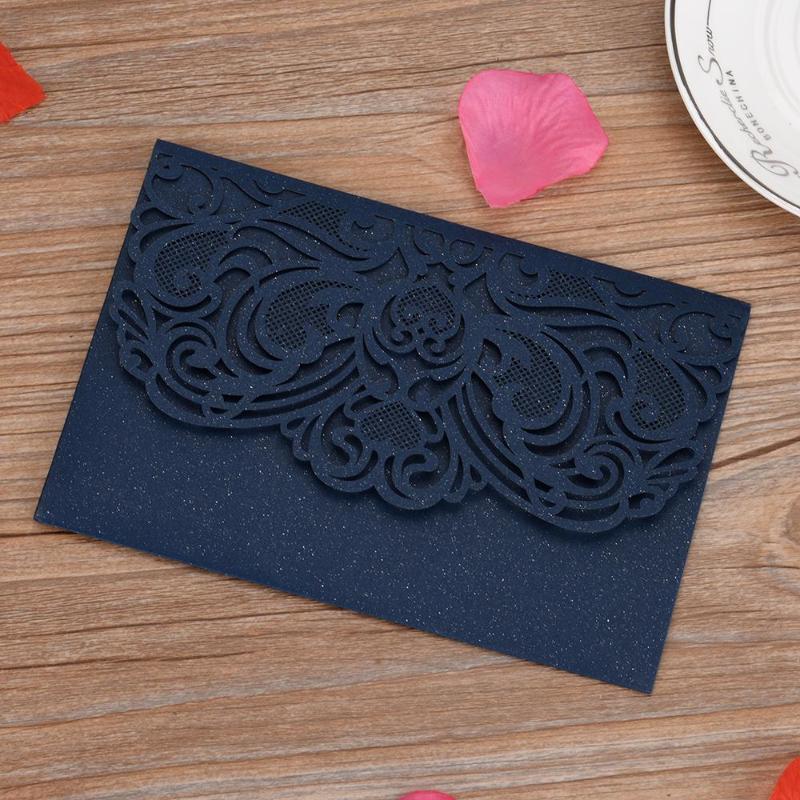 Cartões de saudação 10 pcs convites para aniversário de casamento com folha de pérola em branco folha interna