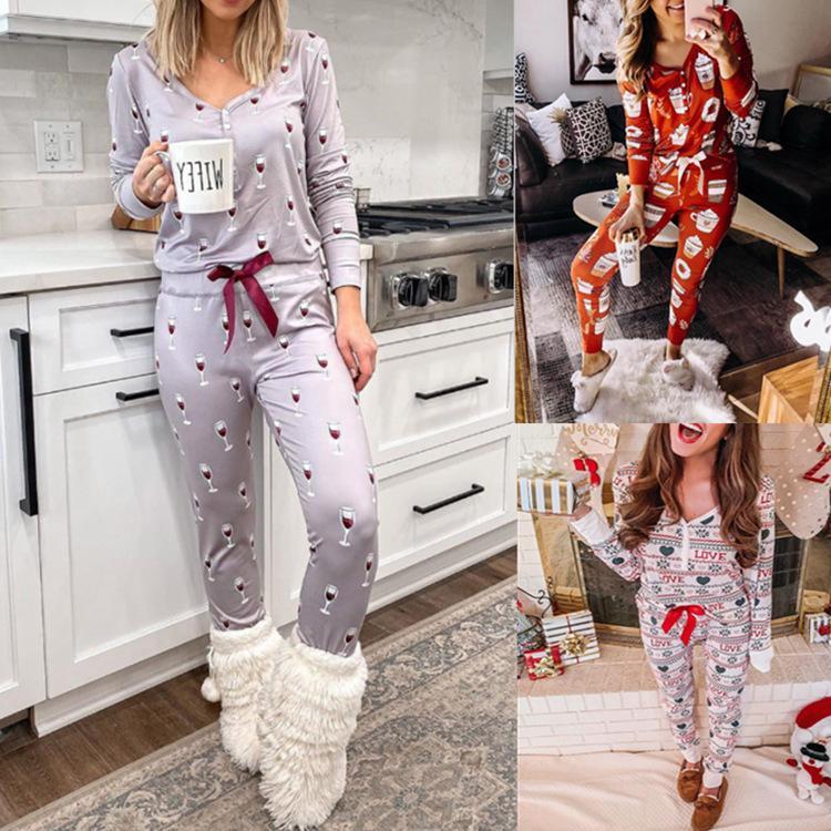 Pantaloni a maniche lunghe con scollo a V stampato da donna autunno e vinicolo con bottone a maniche lunghe