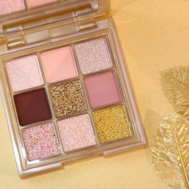 9colors belleza cosmética polvo sombra de ojos paletas maquillaje natural brillo oro sombra de ojos paleta