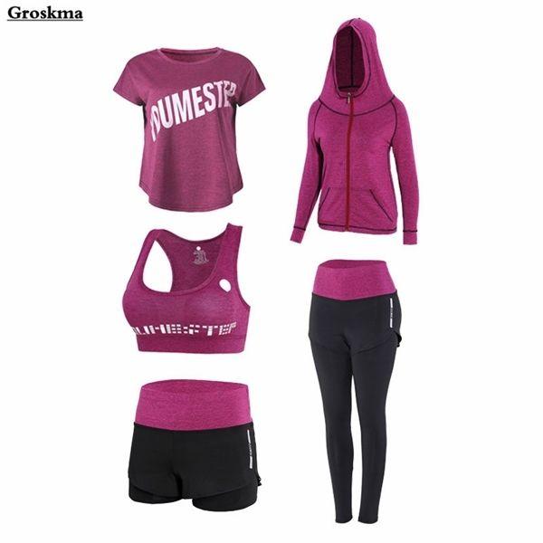 Плюс размер женщин спорт 5 шт. Установите быстрый сухой йога высокие талии брюки + шорты + футболка + бюстгальтер + пальто фитнес тренажерный зал одежда открытый наборы 4XL Z1125